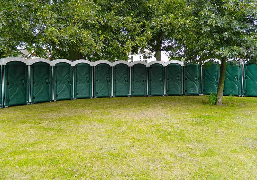 Row of any occasion green event toilets